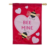 "Load image into Gallery viewer, ""Bee Mine"" Applique Seasonal House Flag; Polyester"