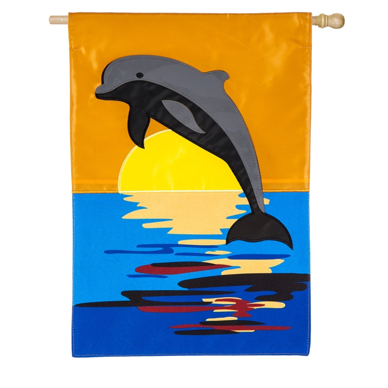 "Load image into Gallery viewer, ""Dolphin Sunset"" Applique Seasonal House Flag; Polyester"