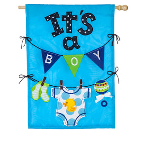 """Its A Boy"" Applique Seasonal House Flag; Polyester"