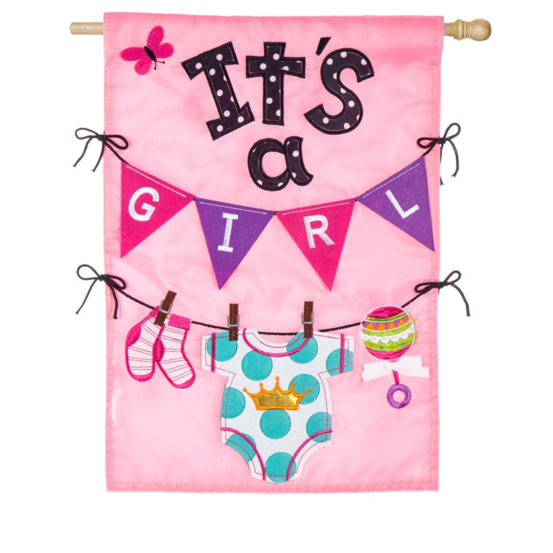 "Load image into Gallery viewer, ""Its A Girl"" Applique Seasonal House Flag; Polyester"