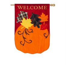 "Load image into Gallery viewer, ""Welcome Fall"" Applique Seasonal House Flag; Polyester"