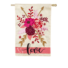 "Load image into Gallery viewer, ""Valentines Love"" Applique Seasonal House Flag; Polyester"