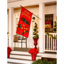 "Load image into Gallery viewer, ""Christmas Poinsettia"" Applique Seasonal House Flag; Polyester"