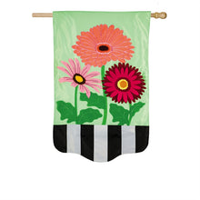 "Load image into Gallery viewer, ""Gerbera Daisies"" Applique Seasonal House Flag; Polyester"