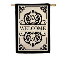"Load image into Gallery viewer, ""Cambridge Welcome"" Applique Seasonal House Flag; Polyester"