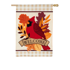 """Autumn Cardinal"" Applique Seasonal Banner; Polyester"