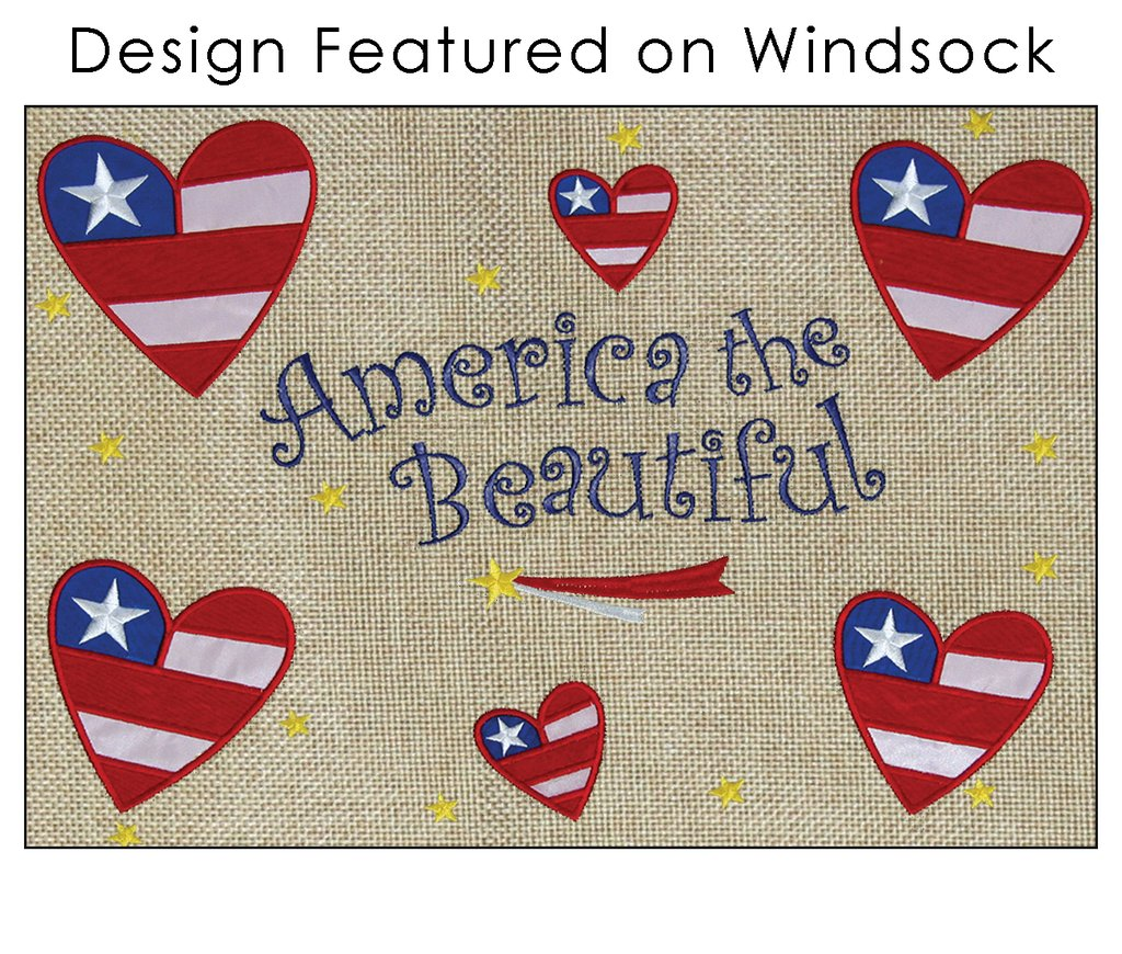 "Load image into Gallery viewer, ""America the Beautiful"" Windsock; Burlap"