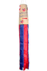 """America the Beautiful"" Windsock; Burlap"