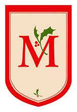 "Load image into Gallery viewer, Holiday Monogram ""M"" Double Sided Applique Seasonal House Flag; Polyester"