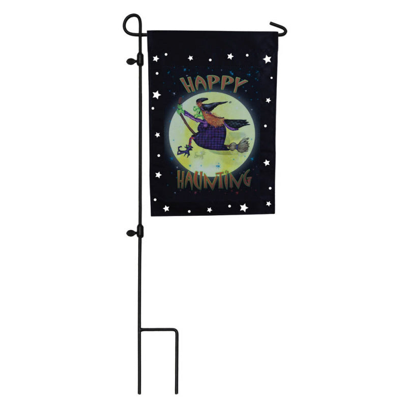 "Load image into Gallery viewer, ""Halloween Witch Ride"" Printed Seasonal Garden Flag; Polyester"