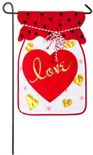 "Load image into Gallery viewer, ""Jar of Love"" Applique Seasonal Garden Flag; Polyester"