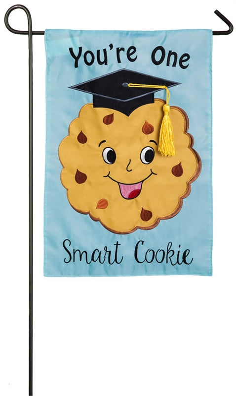 "Load image into Gallery viewer, ""Youre One Smart Cookie"" Graduation Applique Seasonal Garden Flag; Polyester"