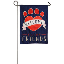 "Load image into Gallery viewer, ""Welcome Furry Friends"" Applique Seasonal Garden Flag; Polyester"