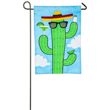"Load image into Gallery viewer, ""Cactus in Sunglasses"" Applique Seasonal Garden Flag; Polyester"