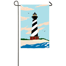 "Load image into Gallery viewer, ""Cape Hatteras Lighthouse"" Applique Seasonal Garden Flag; Polyester"