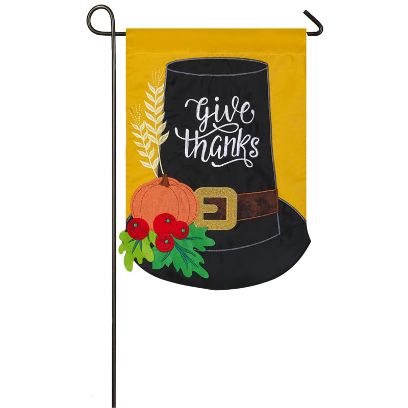 "Load image into Gallery viewer, ""Pilgrim Hat"" Applique Seasonal Garden Flag; Polyester"