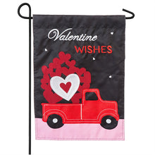 "Load image into Gallery viewer, ""Truckload of Hearts"" Applique Seasonal Garden Flag; Polyester"