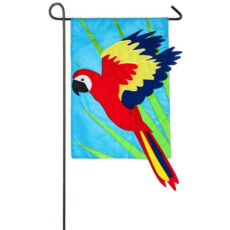 "Load image into Gallery viewer, ""Parrot"" Applique Seasonal Garden Flag; Polyester"