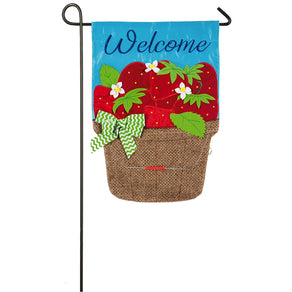 """Basket of Strawberries"" Applique Seasonal Garden Flag; Polyester"