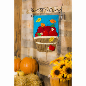 """Apple Basket"" Applique Seasonal Garden Flag; Polyester"