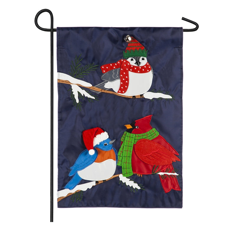 "Load image into Gallery viewer, ""Portly Christmas Birds"" Applique Seasonal Garden Flag; Polyester"