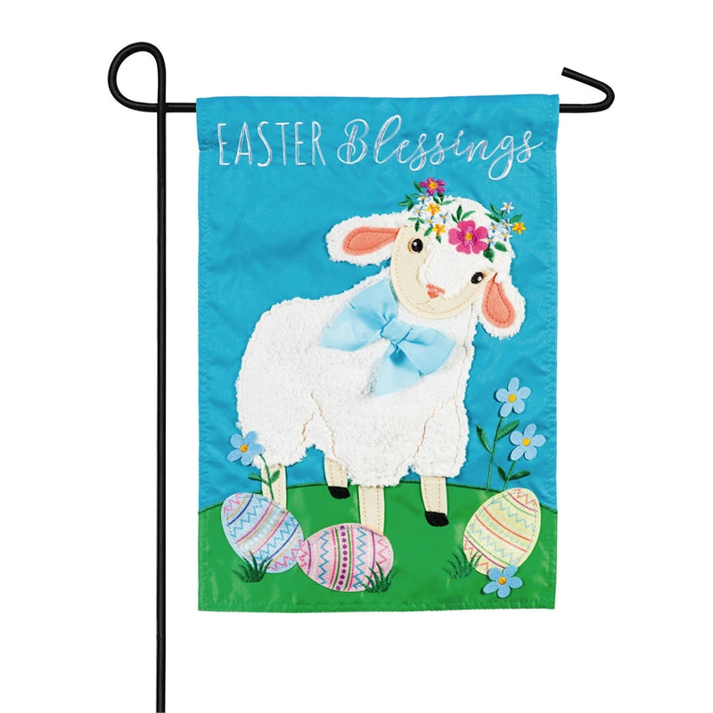 "Load image into Gallery viewer, ""Easter Lamb"" Applique Seasonal Garden Flag; Polyester"