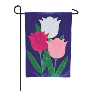 """Tulip Trio"" Applique Seasonal Garden Flag; Polyester"