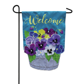 """Basket of Pansies"" Applique Seasonal Garden Flag; Polyester"