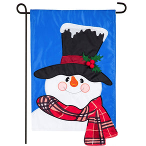 """Baby It's Cold Outside Snowman"" Applique Seasonal Garden Flag; Polyester"