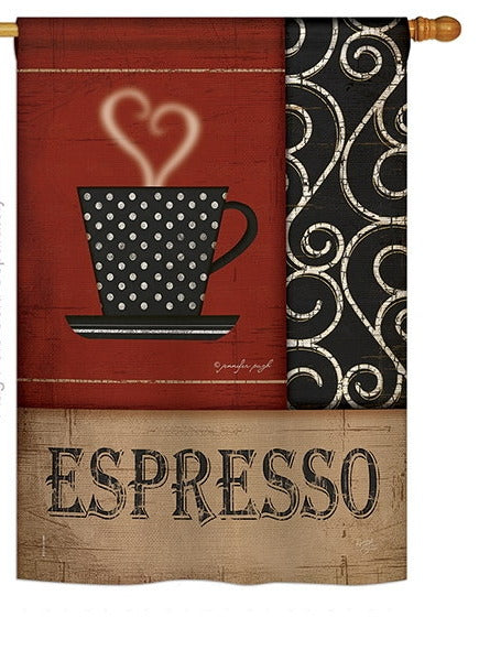 "Load image into Gallery viewer, ""Espresso"" Printed Seasonal House Flag; Polyester"
