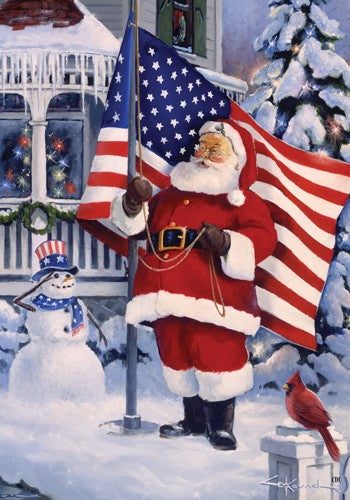 "Load image into Gallery viewer, ""American Santa"" Printed Seasonal Garden Flag; Polyester"
