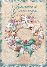 "Load image into Gallery viewer, ""Shell Wreath"" Printed Seasonal Garden Flag; Polyester"