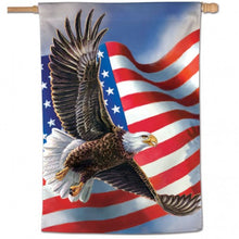 "Load image into Gallery viewer, ""Patriotic Eagle"" Printed Seasonal House Flag; Polyester"
