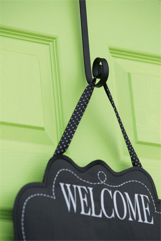"Load image into Gallery viewer, Black Painted Metal Door Decor Holder - 8""Tx4""W"
