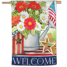 "Load image into Gallery viewer, ""Patriotic Welcome"" Printed Seasonal House Flag; Polyester"
