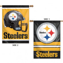 Load image into Gallery viewer, Pittsburgh Steelers Double Sided House Flag; Polyester