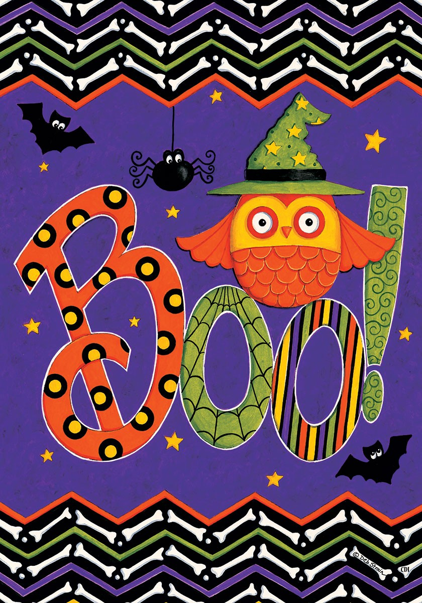 "Load image into Gallery viewer, ""Owl Boo Halloween"" Printed Seasonal House Flag; Polyester"