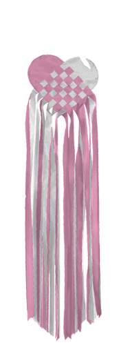 Load image into Gallery viewer, Lattice Heart Banner Pink & White Seasonal Nylon Windsock