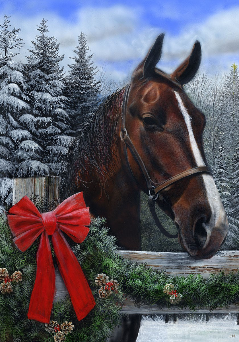 "Load image into Gallery viewer, ""Winter Horse"" Printed Seasonal Garden Flag; Polyester"