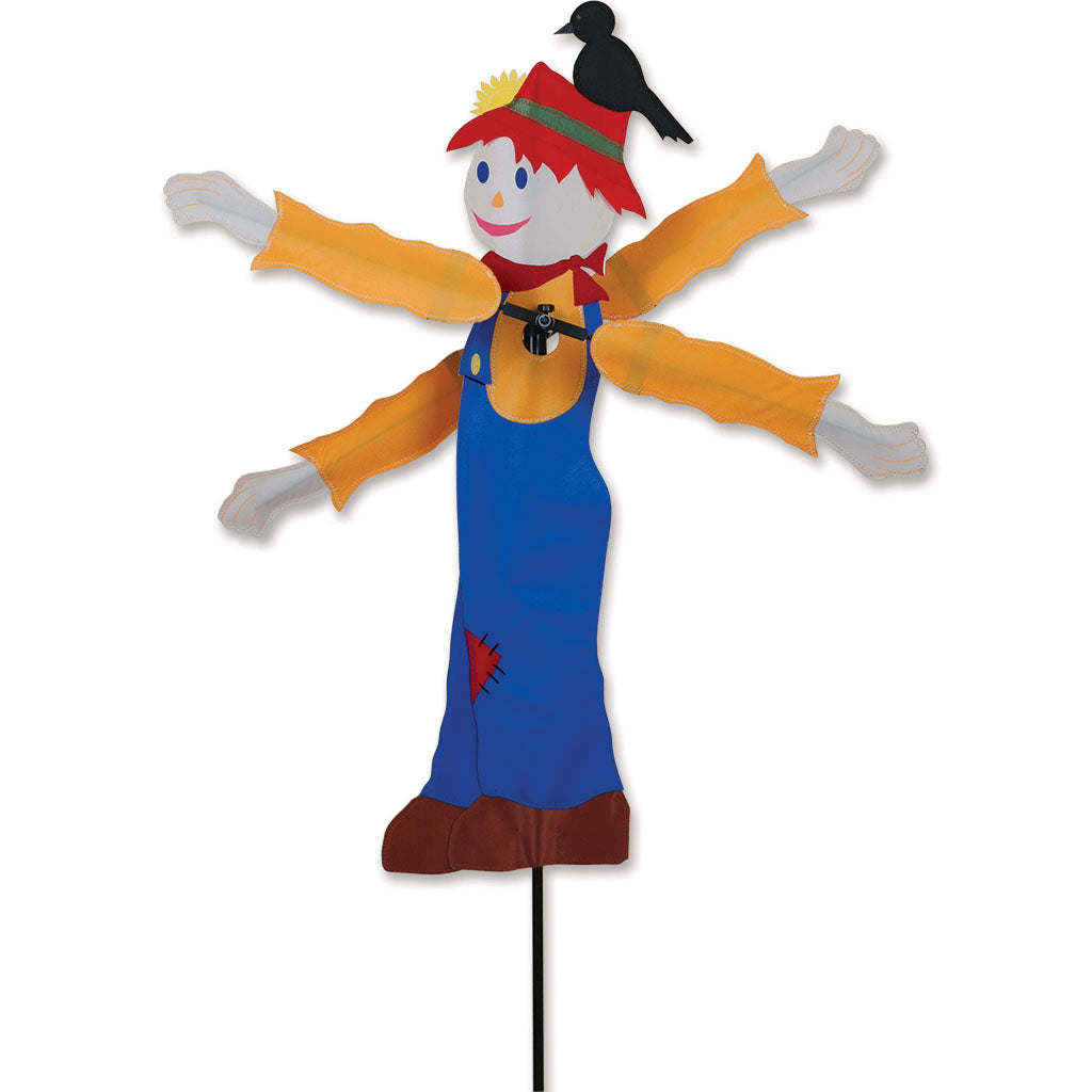 "Load image into Gallery viewer, Fall Scarecrow Whirligig Spinner; Nylon 28.5""x9"", diameter TBD"""