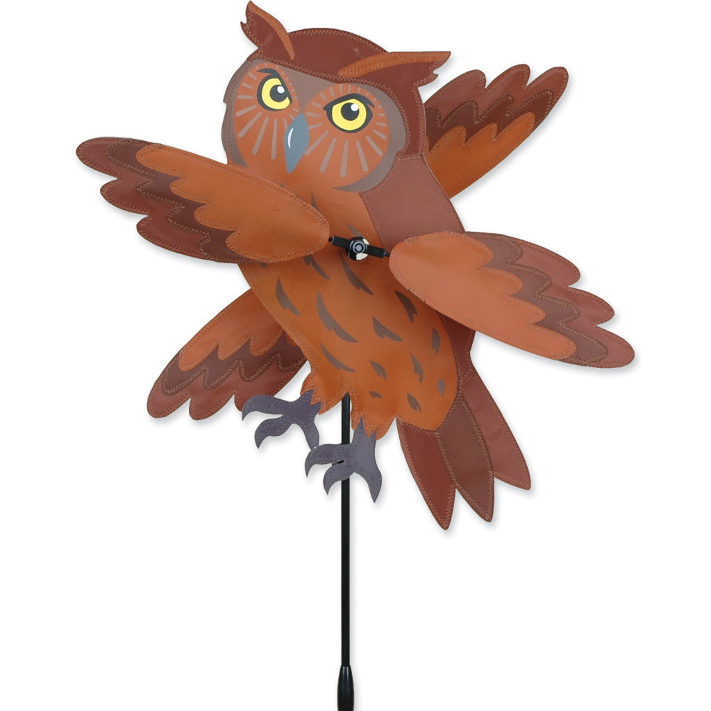 "Load image into Gallery viewer, Brown Owl Whirligig Spinner; Nylon 12""x18"", diameter 19.5"""
