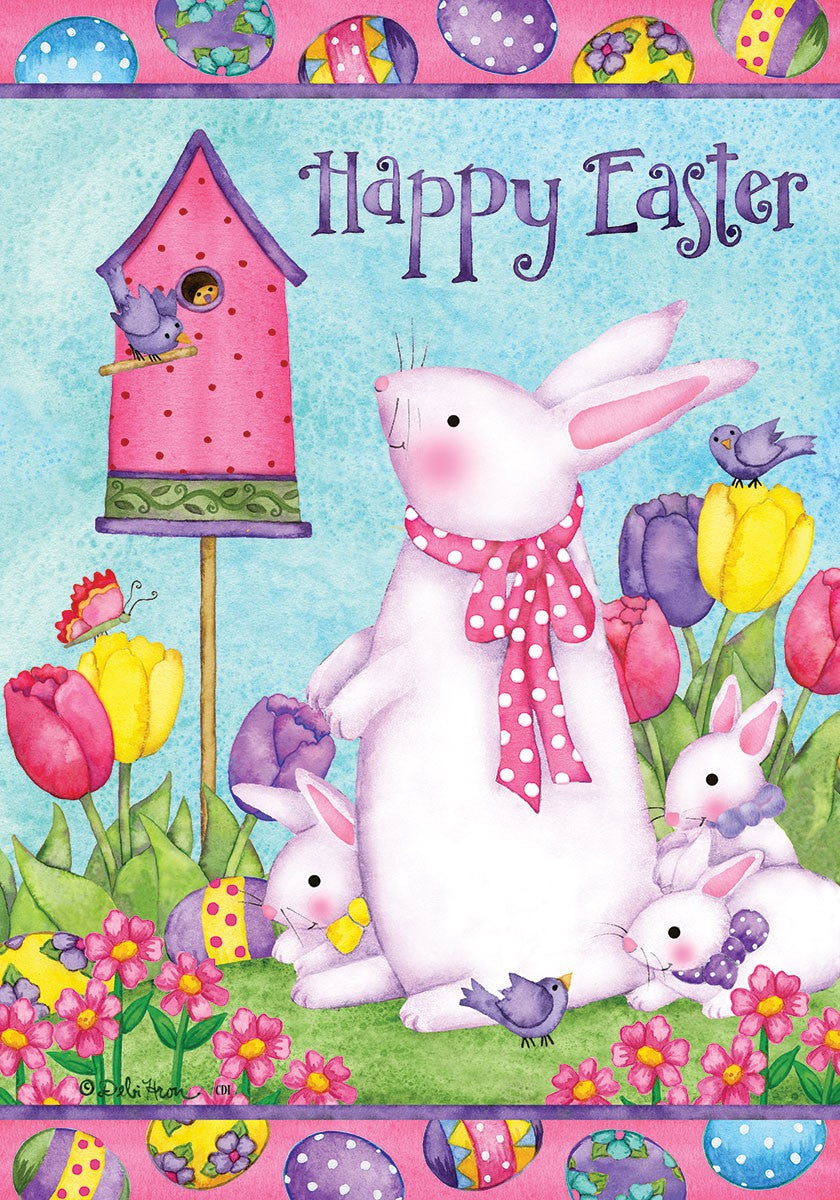 "Load image into Gallery viewer, ""Easter Bunny Birdhouse"" Printed Seasonal House Flag; Polyester"