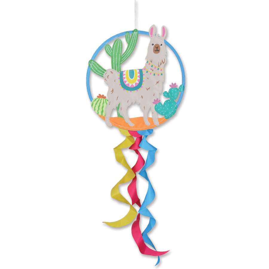 "Load image into Gallery viewer, ""Alpaca"" Dreamcatcher Windsock; Polyester"