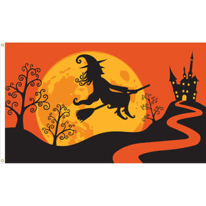 3x5 Halloween Witch Flight Seasonal Flag; Nylon H&G