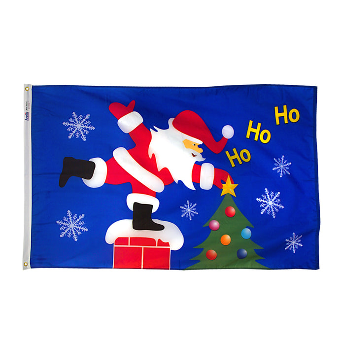 3x5 Santa on the Roof Seasonal Flag; Nylon H&G