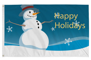 3x5 Happy Holidays Snowman with Blue Background Seasonal Flag; Nylon H&G