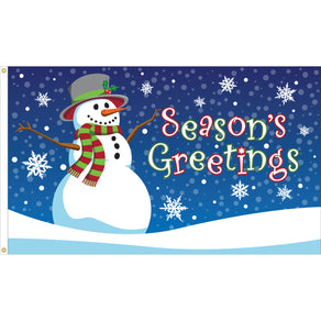 3x5 Seasons Greetings Snowman Seasonal Flag; Nylon H&G