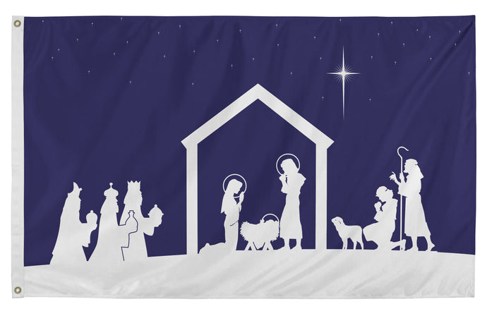 3x5 Christmas Nativity Scene Seasonal Flag; Nylon H&G