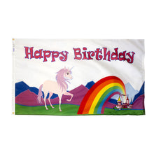Load image into Gallery viewer, 3x5 Happy Birthday Unicorn Occasional Flag; Nylon H&G