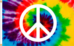3x5 Tye Dye Peace Sign Flag; Nylon H&G